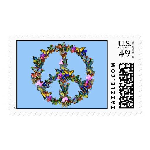 Símbolo de paz de la mariposa timbres postales