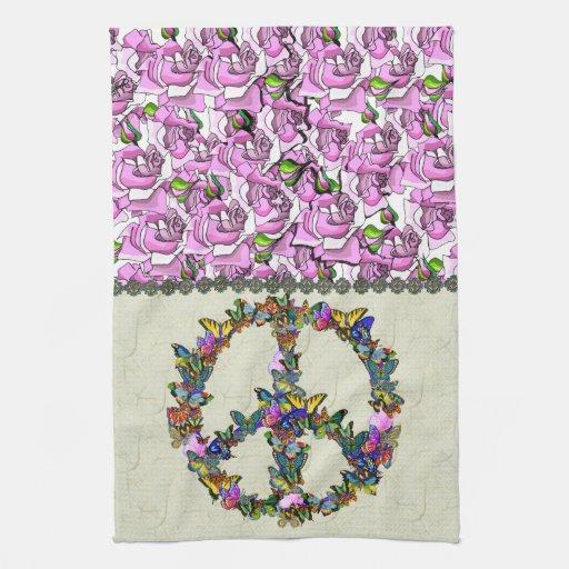 Símbolo de paz de la mariposa toallas de mano