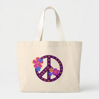 Símbolo de paz de las flores bolsa tela grande