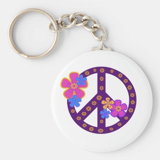 Símbolo de paz de las flores llaveros