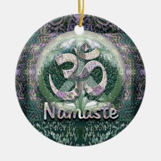 Símbolo de paz de Namaste Adorno Navideño Redondo De Cerámica