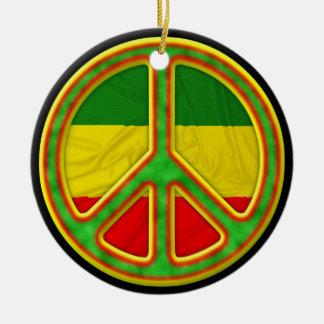 Símbolo de paz de Rasta Adorno Navideño Redondo De Cerámica