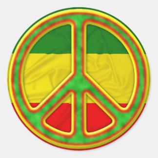 Símbolo de paz de Rasta Pegatina Redonda