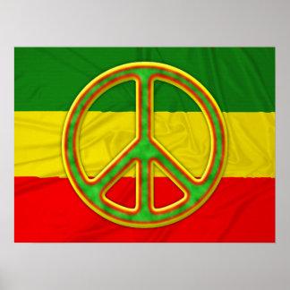 Símbolo de paz de Rasta Póster