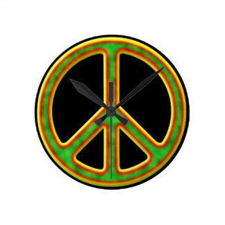 Símbolo de paz de Rasta Reloj Redondo Mediano