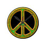 Símbolo de paz de Rasta Relojes De Pared