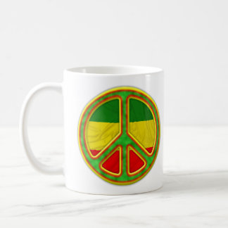 Símbolo de paz de Rasta Taza Básica Blanca
