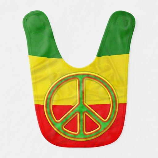 Símbolo de paz de Rasta Baberos Para Bebé