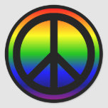 Símbolo de paz del arco iris etiquetas redondas