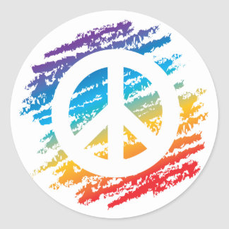 Símbolo de paz del arco iris pegatina redonda