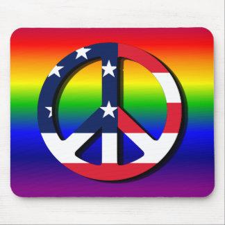 Símbolo de paz del arco iris alfombrillas de ratones