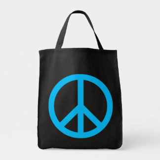Símbolo de paz del azul de cielo bolsa tela para la compra