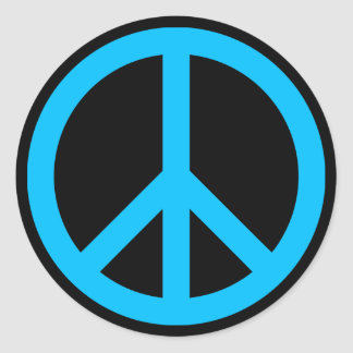 Símbolo de paz del azul de cielo pegatina redonda