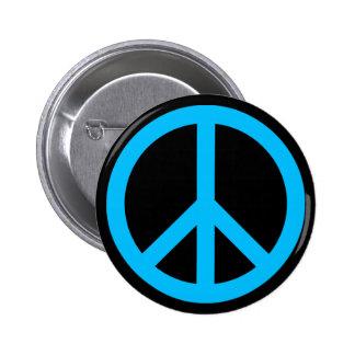 Símbolo de paz del azul de cielo pin redondo 5 cm