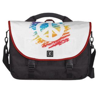 Símbolo de paz del creyón del arco iris bolsas para ordenador