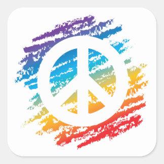 Símbolo de paz del creyón del arco iris pegatina cuadrada