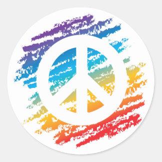 Símbolo de paz del creyón del arco iris pegatina redonda
