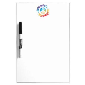 Símbolo de paz del creyón del arco iris pizarras blancas