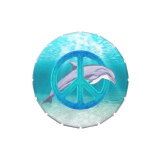 Símbolo de paz del delfín frascos de dulces