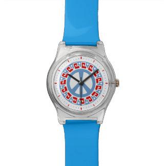 Símbolo de paz del hippy 60s con la frontera relojes de mano