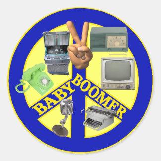 Símbolo de paz del nacido en el baby boom pegatina redonda
