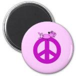 Símbolo de paz del ratón iman de nevera