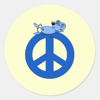 Símbolo de paz del ratón pegatina redonda