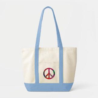 Símbolo de paz del teñido anudado bolsa tela impulso