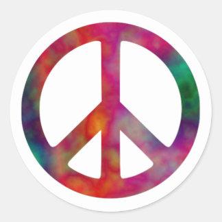Símbolo de paz del teñido anudado pegatina redonda