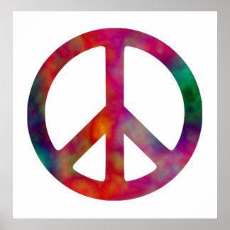 Símbolo de paz del teñido anudado póster