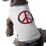 Símbolo de paz del teñido anudado camisetas de perro