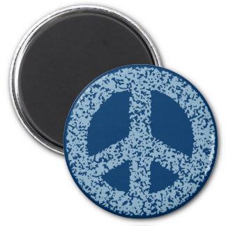 Símbolo de paz - dist-azul imán redondo 5 cm