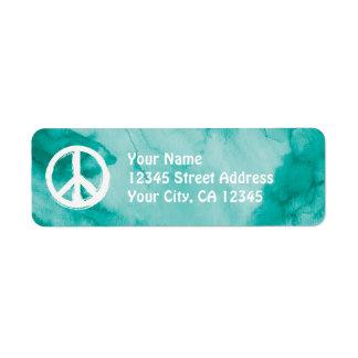 Símbolo de paz en blanco en acuarela etiqueta de remitente