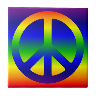 Símbolo de paz enrrollado del arco iris teja