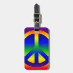 Símbolo de paz enrrollado del arco iris etiquetas bolsas