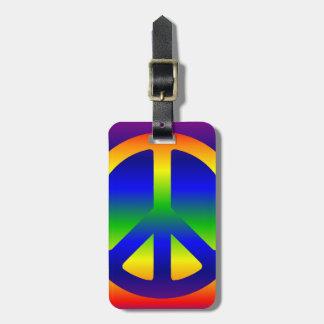 Símbolo de paz enrrollado del arco iris etiquetas de maletas