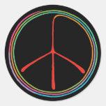 Símbolo de paz espiral de neón etiqueta redonda