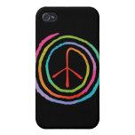 Símbolo de paz espiral de neón II iPhone 4/4S Fundas