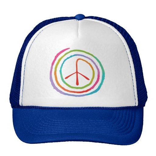 Símbolo de paz espiral de neón II Gorros