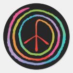 Símbolo de paz espiral de neón II Pegatina Redonda