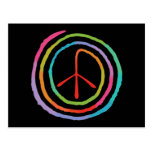 Símbolo de paz espiral de neón II Postal