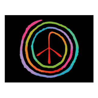 Símbolo de paz espiral de neón II Postales