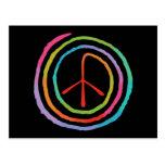 Símbolo de paz espiral de neón II Tarjetas Postales