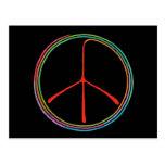 Símbolo de paz espiral de neón tarjetas postales