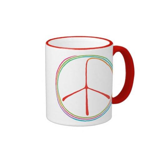 Símbolo de paz espiral de neón taza