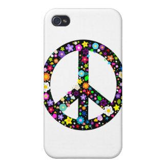 Símbolo de paz floral iPhone 4 cobertura