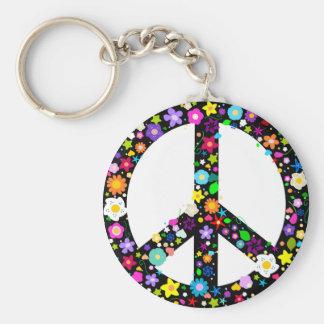 Símbolo de paz floral llavero redondo tipo pin