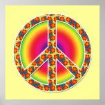 Símbolo de paz floral posters