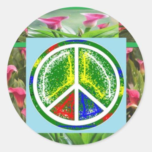 SÍMBOLO DE PAZ:  Flores artísticas verdes Pegatina Redonda