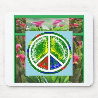 SÍMBOLO DE PAZ:  Flores artísticas verdes Tapete De Raton